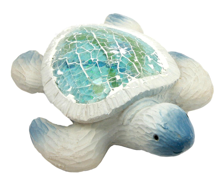 Ebros Coastal Ocean Giant Sea Turtle Statue With Crushed Glass Mosaic Shell Nautical Decor Figurine
