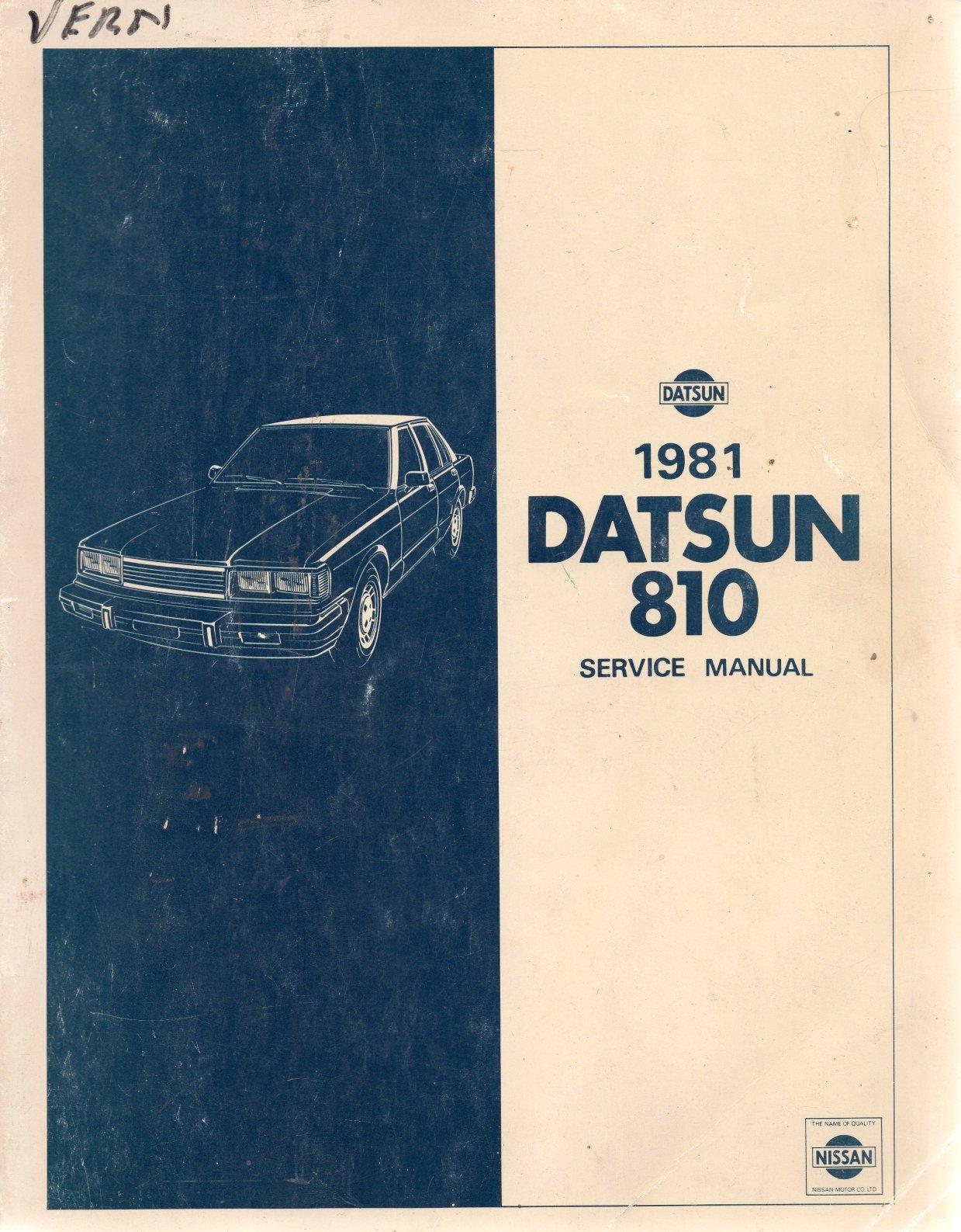 1981 Datsun 810 - Service Manual - Model 910 Series - Publication Number  SM1E-0910U0: Nissan Motor Co LTD: Amazon.com: Books