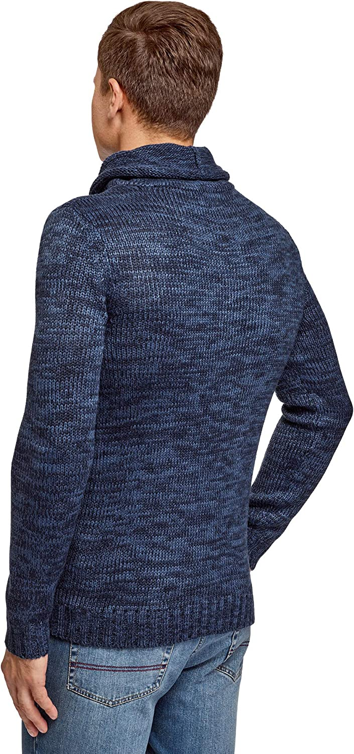 oodji Ultra Mens Pullover with Large Drawstring Collar