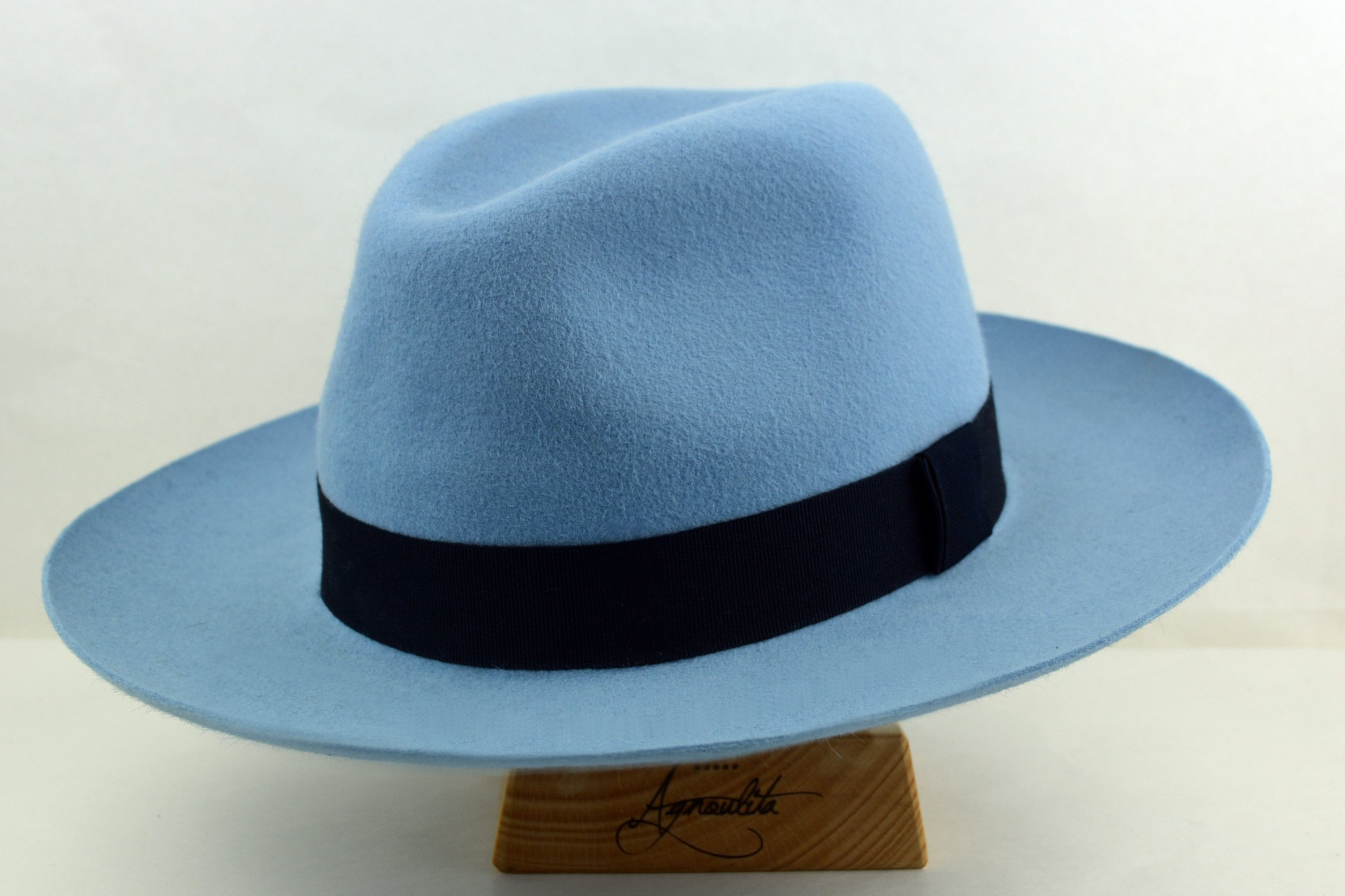 Light Blue Montgomery Fedora - Wide Brim Fur Felt Handmade Fedora Hat - Men Women by HNC-HatWorks