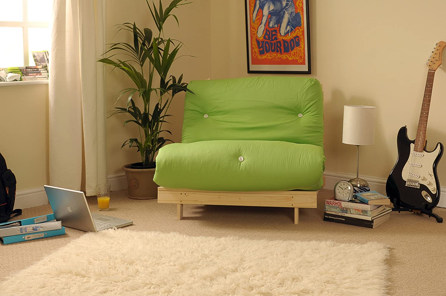 Comfy Living 2ft6 Small Single Wooden Futon Set LIME GREEN Mattress