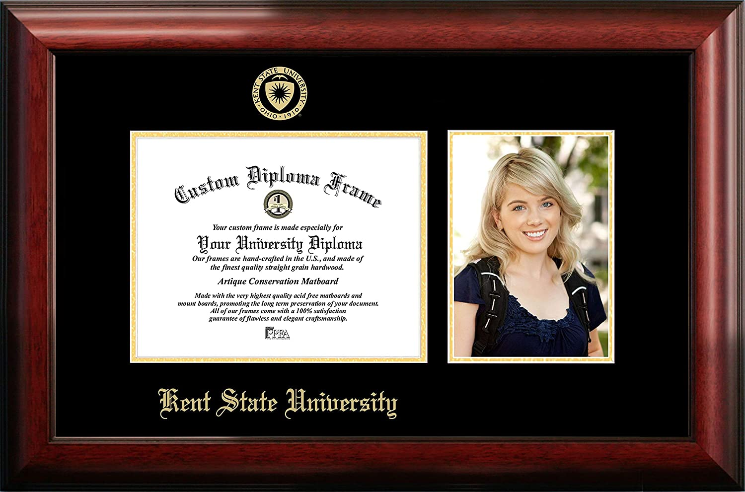 NCAA Kent State Golden Flashes Unisex Kent State University 9 x 7 Inches Gold Embossed Diploma Frame with 5 x 7 Inches Portrait Gold Embossed Diploma Frame with 5 x 7 Inches Portrait Brown One Size