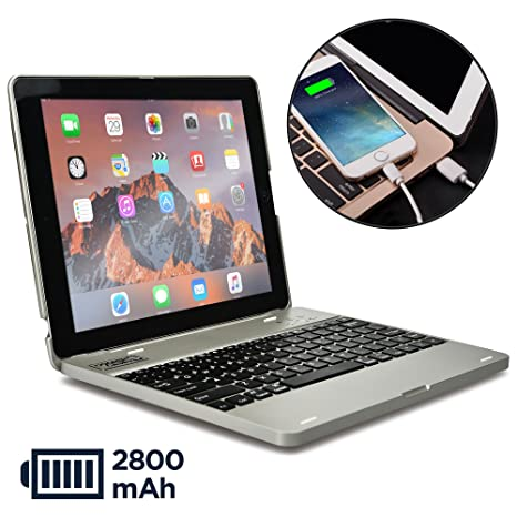 amazon com cooper kai skel p1 keyboard case compatible with ipad 4cooper kai skel p1 keyboard case compatible with ipad 4, ipad 3, ipad 2 bluetooth, wireless clamshell cover with keyboard built in 2800mah power bank to