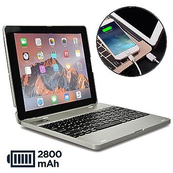 Funda con Teclado para Apple iPad 2/3/4, Cooper Kai SKEL P1 Carcasa con Teclado inalámbrico Bluetooth para portátil, Macbook, batería Externa ...