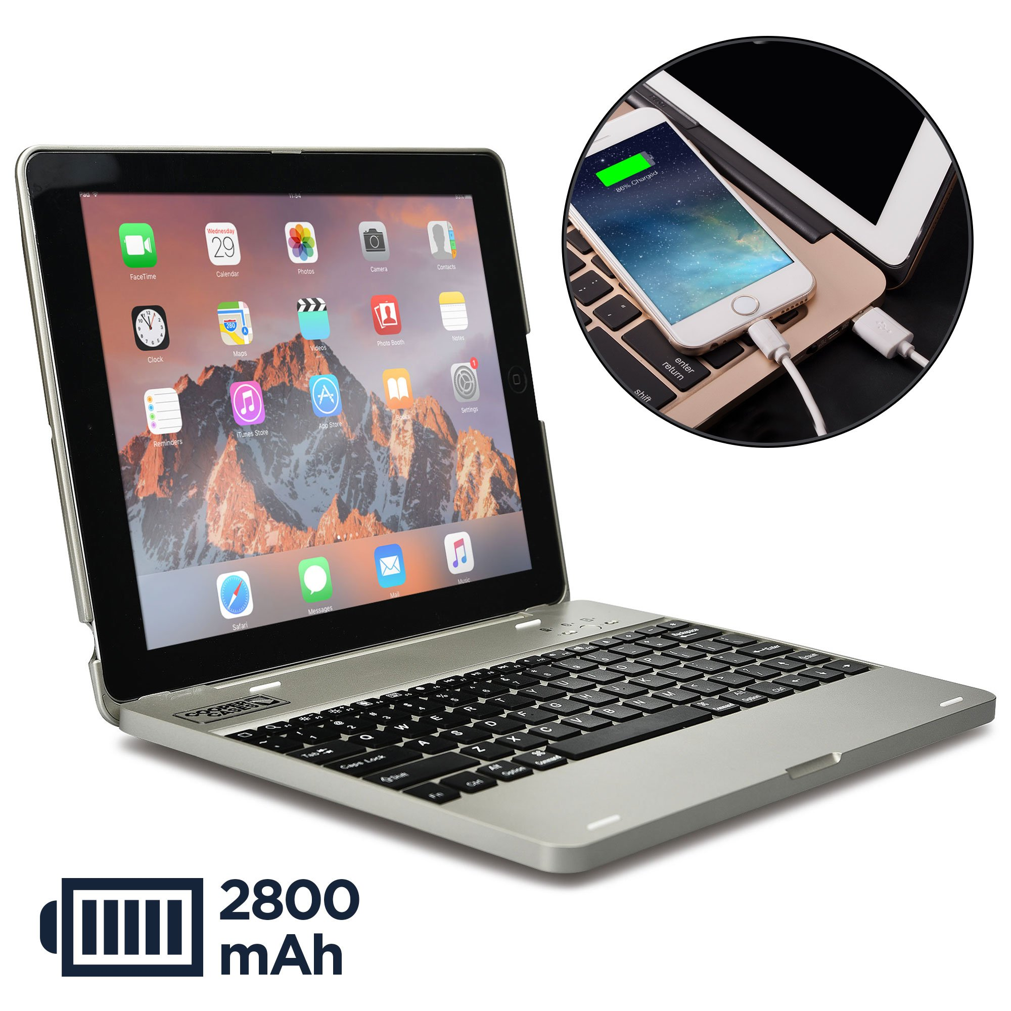 COOPER KAI SKEL P1 Keyboard case compatible with iPad 4, iPad 3, iPad 2   Bluetooth, Wireless Clamshell Cover with Keyboard   Built-in 2800mAh Power Bank to charge iPad, iPhone   60HR Battery (Silver)