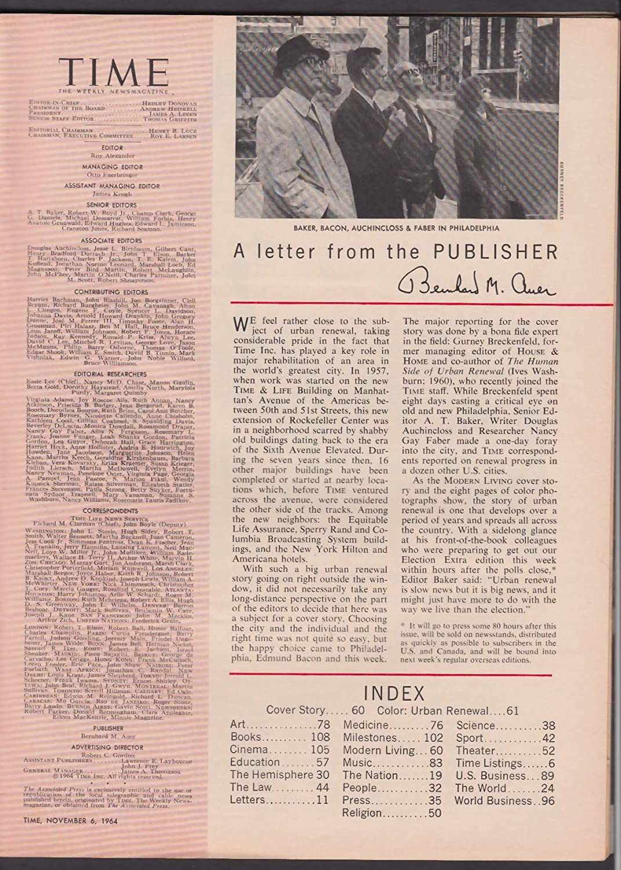 TIME Philadelphia Edmund Bacon Urban Renewal LBJ Goldwater