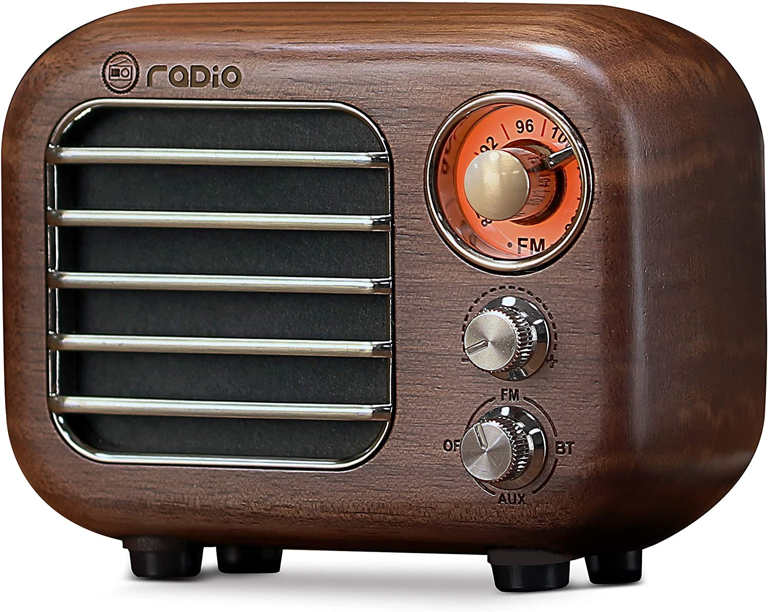 Retro FM Radio Bluetooth Speaker Portable Walnut Wood Radio Rechargeable Battery Operated, Old-Fashioned Design, Supported AUX Input, TF Cards