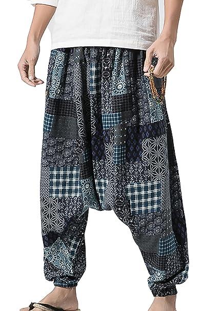 Vdual Hombres Pantalones Cagados Holgados Hippies Pantalones ...