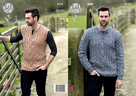 Amazon King Cole Mens Knitting Pattern Cable Detail Sweater