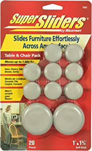 Super Sliders by Waxman 7601 Adhesive Furniture Sliders Table and Chair Pack 20-Pieces