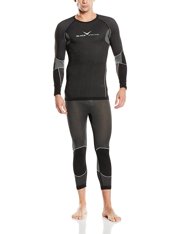 Black Crevice Men's Thermal Underwear Base Layer Set, Unisex, Funktionsunterwäsche Set, black BCR218982