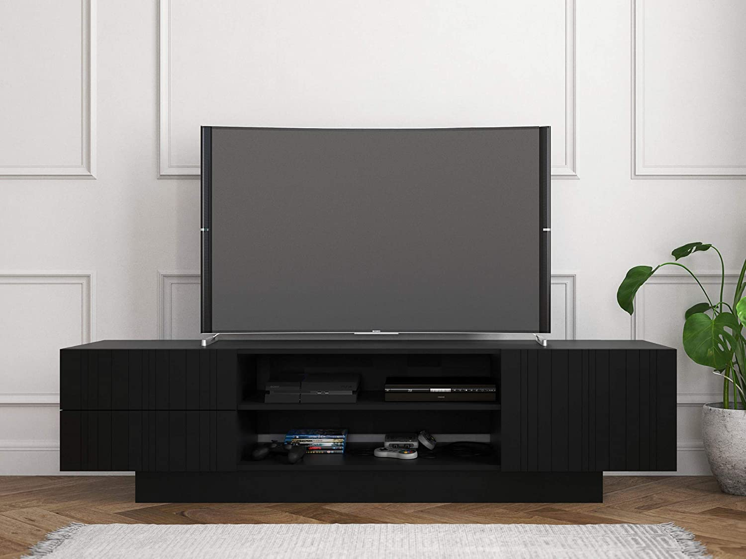 Nexera Galleri Black 72 Inch Tv Stand Home Kitchen