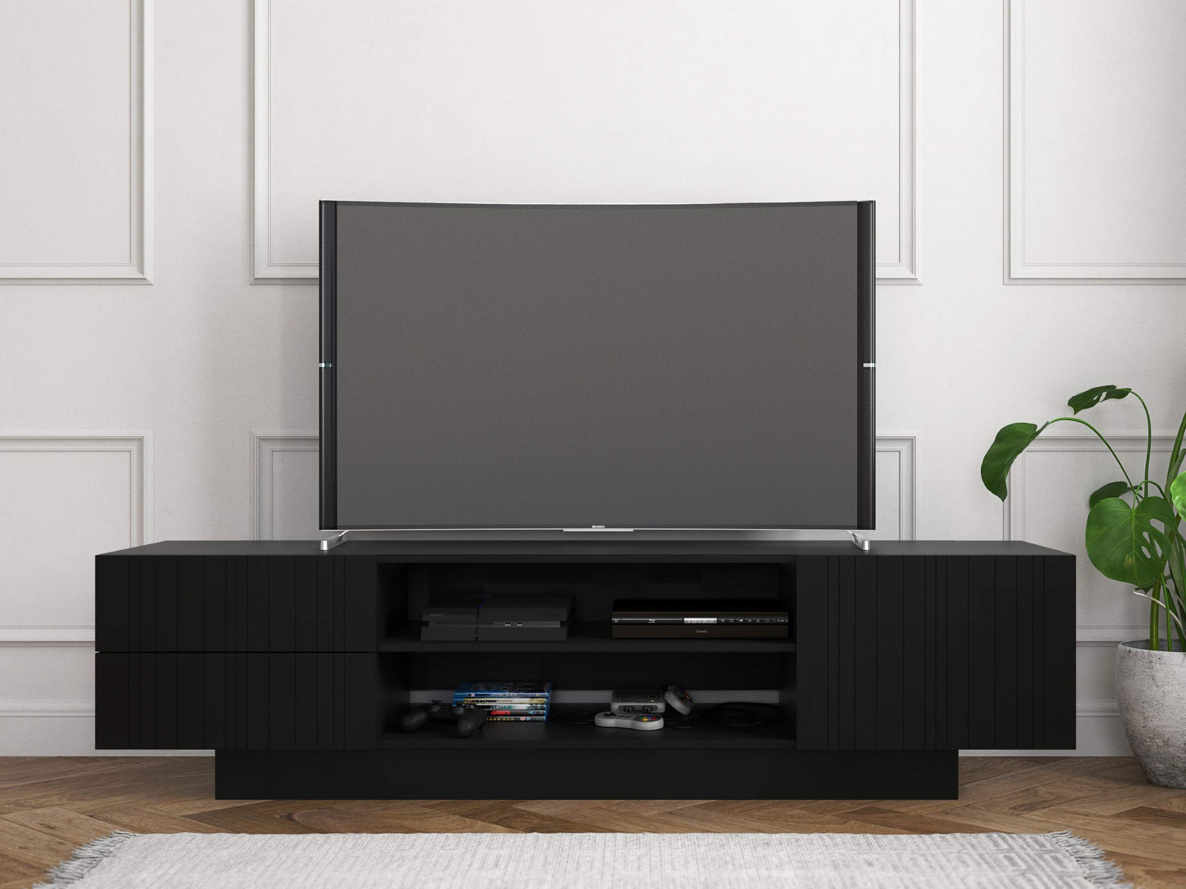 Nexera Galleri, Black 72-inch TV Stand by Nexera