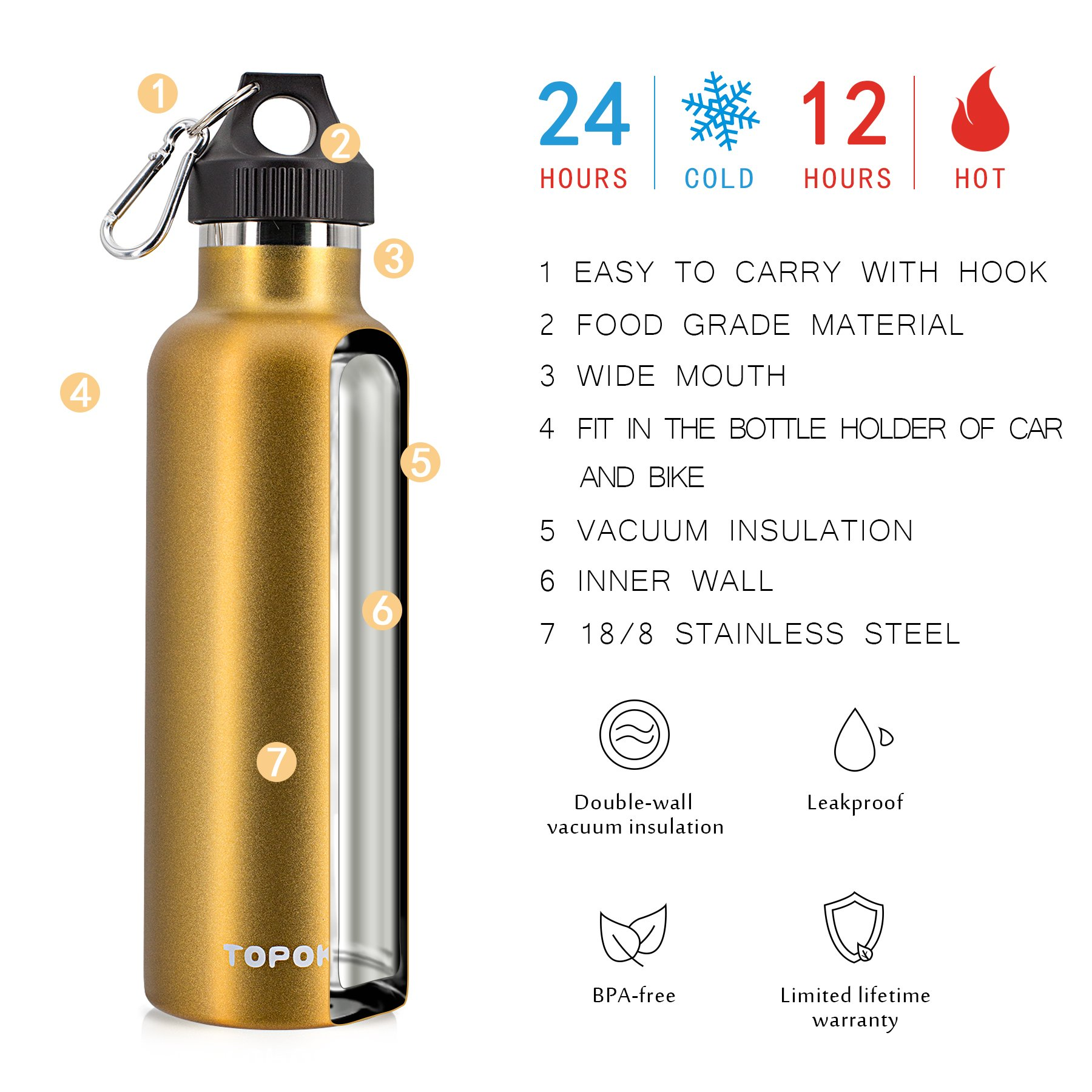 Stainless Steel Vacuum Insulated Water Bottle Double Wall - TOPOKO Top Quality Hydration Thermos - Camping Hiking Travel No Leak Rust Resistant Colored - 25 oz, Gold by TOPOKO (Image #8)