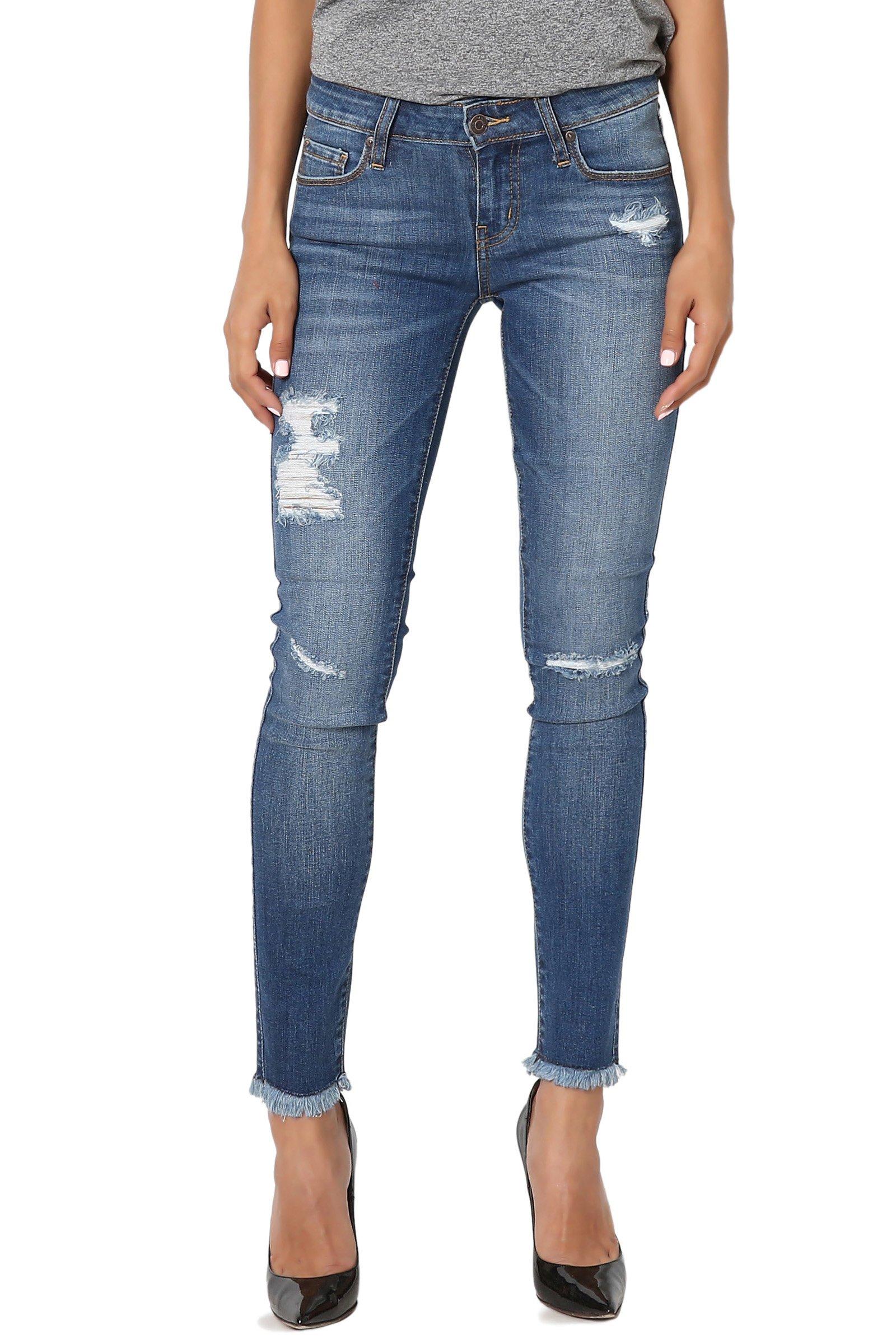 TheMogan Women's Frayed Dustressed Soft Rayon Denim Crop Skinny Jeans Medium 5