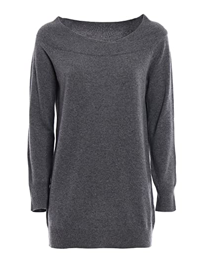 fb835e85e9 PAOLO FIORILLO CAPRI Double Layer Neck Wool Sweater Grigio Donna 44 ...