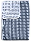 Divine Casa Natty Striped Microfibre Single Blanket - India Ink and White
