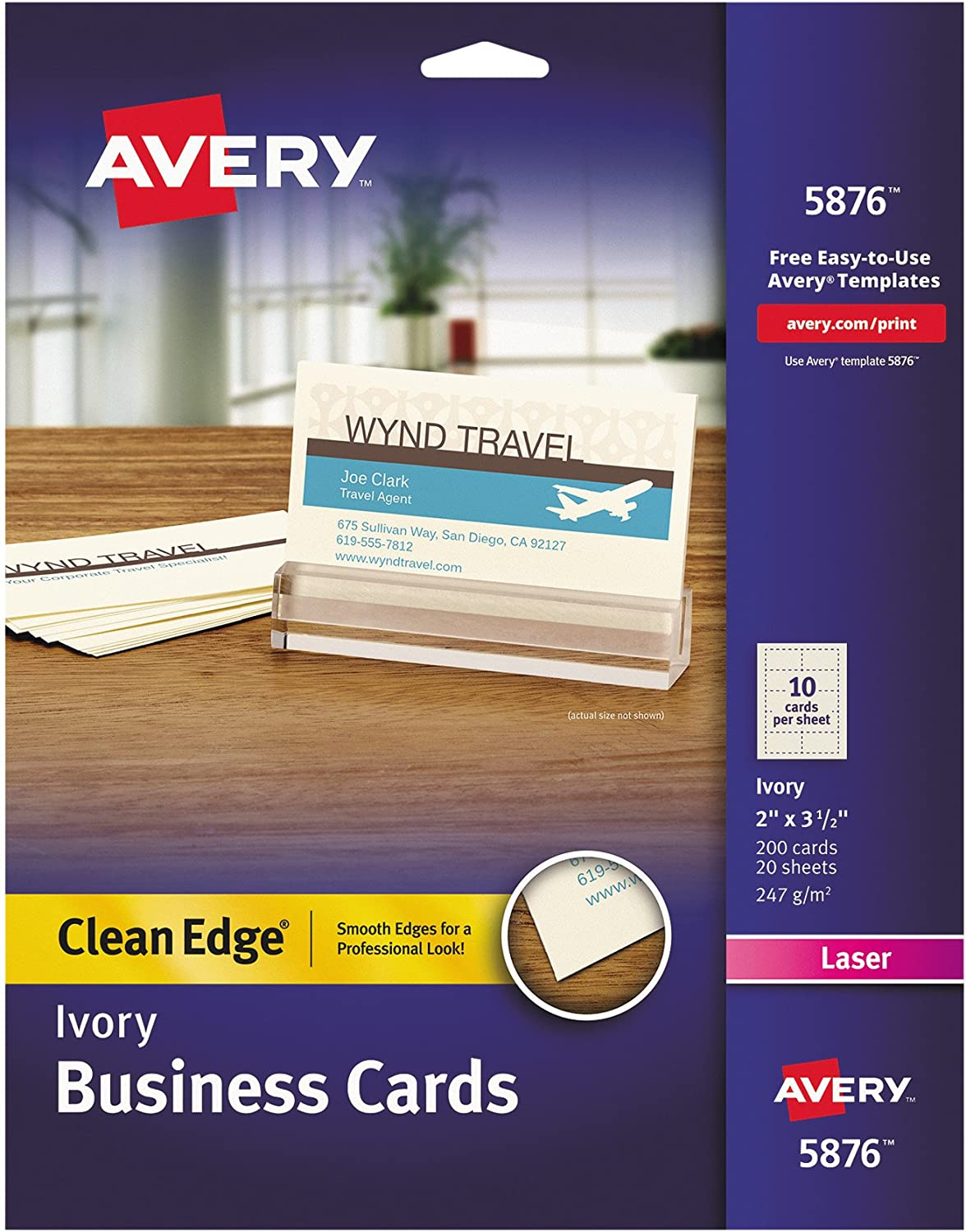 Amazon Com Avery 5876 Two Side Printable Clean Edge Business Cards For Laser Printers Ivory Pack Of 200 Business Card Stock Office Products