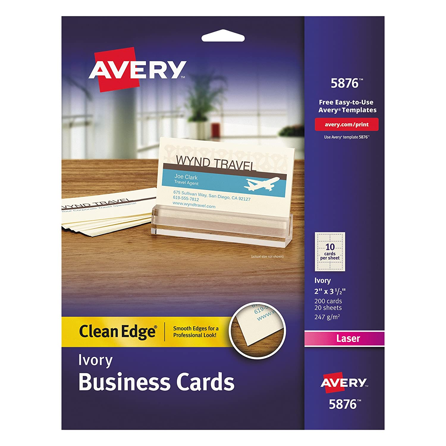 Amazon.com : Avery 5876 Two-Side Printable Clean Edge® Business ...