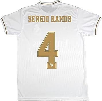 Real Madrid Camiseta Primera Equipación Talla Adulto Sergio Ramos Producto Oficial Licenciado Temporada 2019-2020 Color Blanco (Blanco, Talla L): Amazon.es: Deportes y aire libre