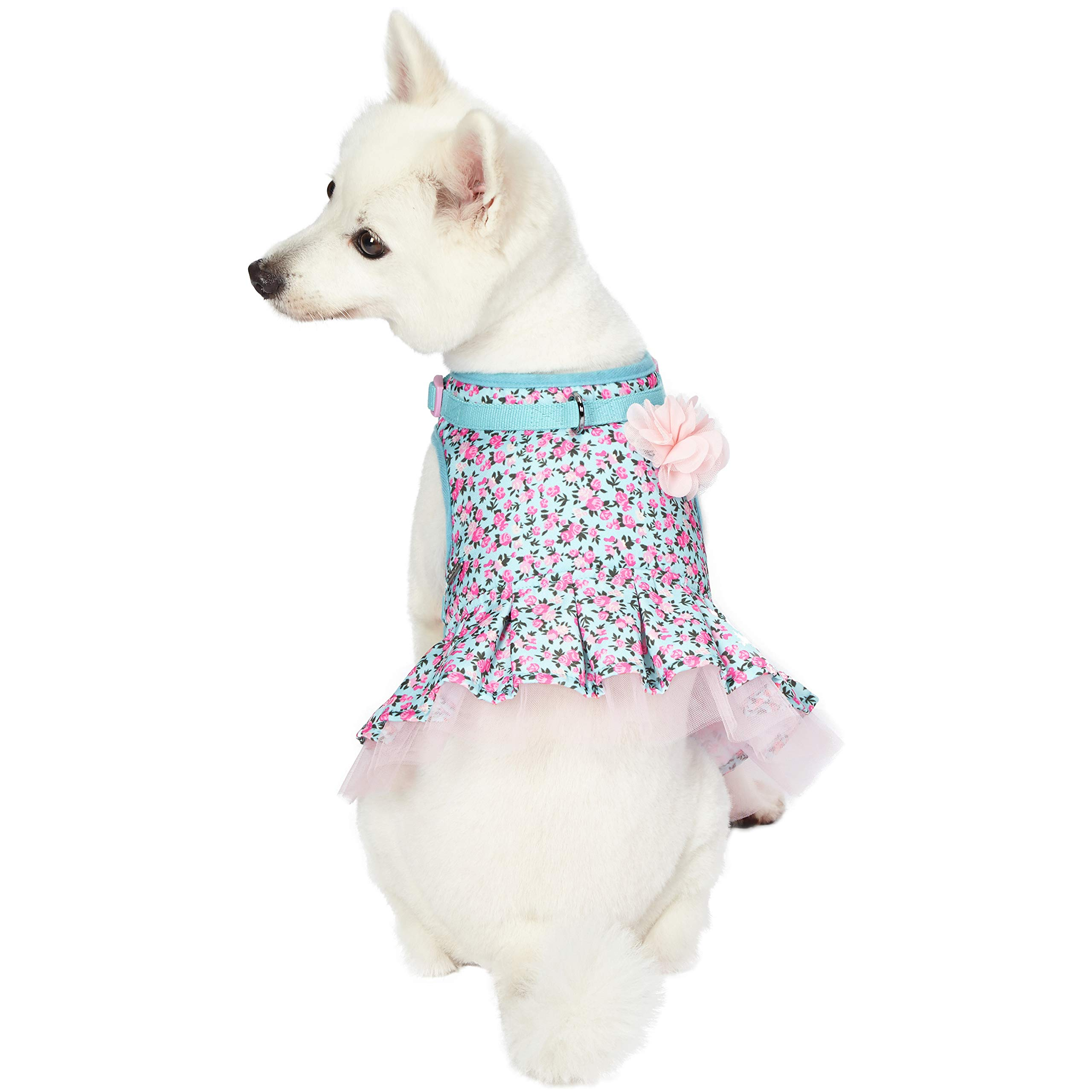 Blueberry Pet 5 Patterns Soft & Comfy Spring Made Well Cute Floral No Pull Mesh Dog Costume Harness Dress in Light Blue, Chest Girth 19''-21'', Small, Adjustable Harnesses for Dogs