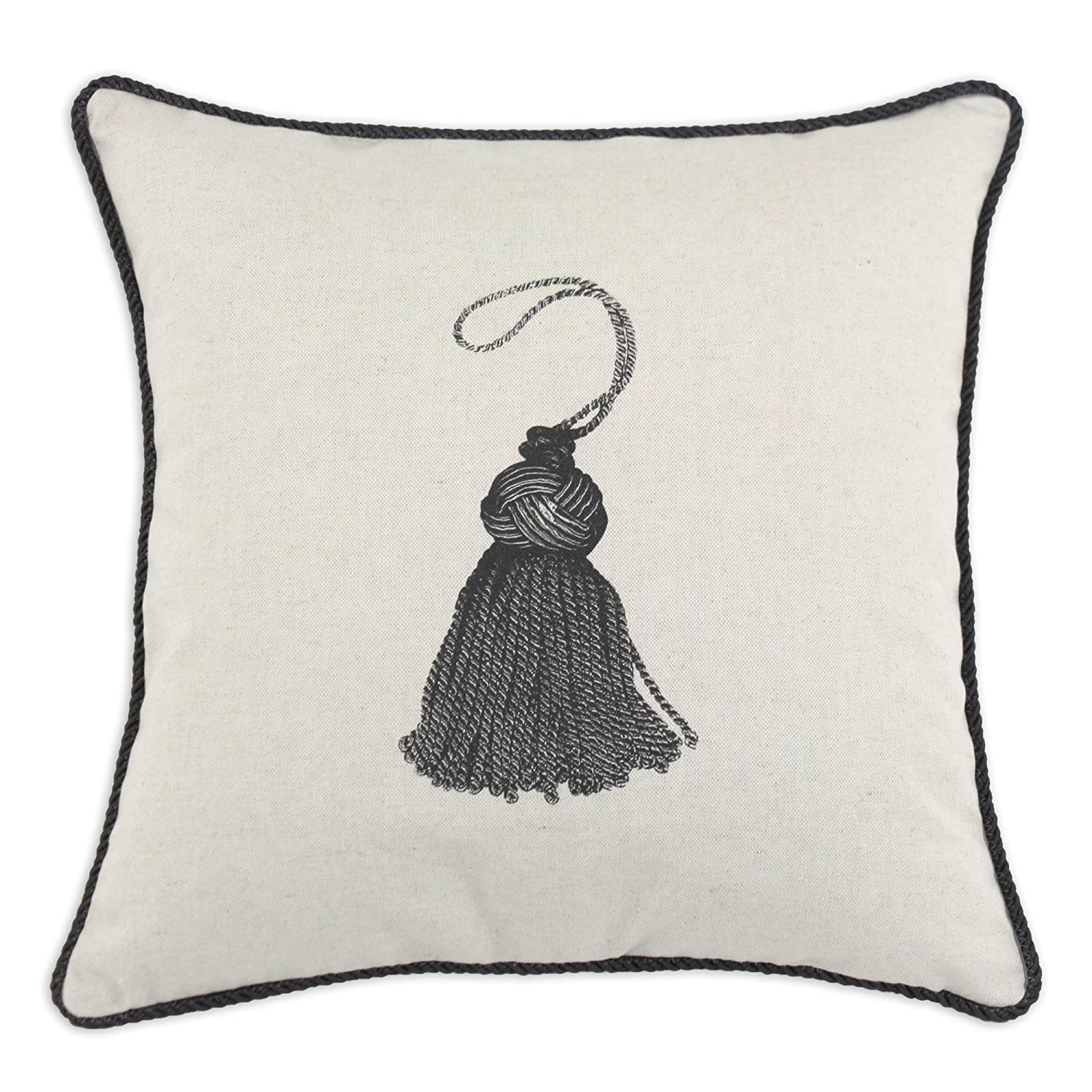 Tassel 17-Inch Spice Home D/écor Graphics Image Linen and Cotton Blend Throw Pillow