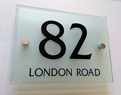 da7b31502240 Image Unavailable. Image not available for. Colour: Avalon House Number  Sign Plaque Modern Frosted Glass Effect