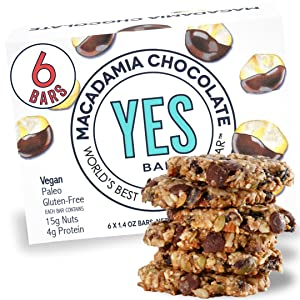 Yes bar – Macadamia Chocolate – (6Count) Plant Based Protein, Decadent Snack bar – Vegan, Paleo, Gluten Free, Low Sugar, Healthy Snack, Breakfast, On-The-Go, for Kids & Family