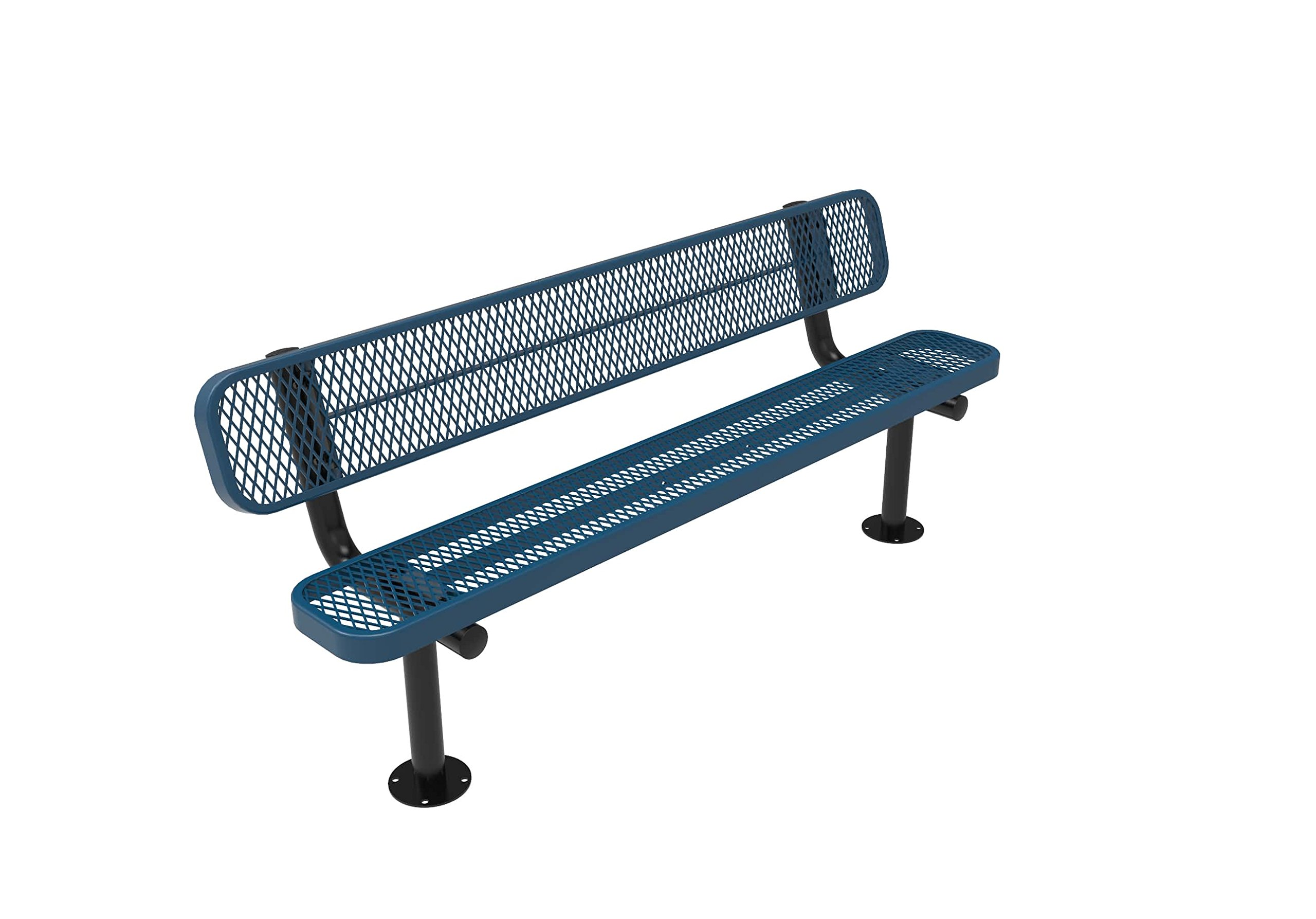 Coated Outdoor Furniture B6WBS-LBL Park Bench with Back, 6 Feet, Light Blue by CoatedOutdoorFurniture