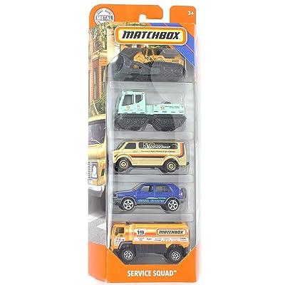 Matchbox 2020 MBX Service Squad 5-Pack (Bulldozer, Hail Cat, Chevy Van, 1990 Volkswagen Golf Country, Desert Thunder V16): Toys & Games