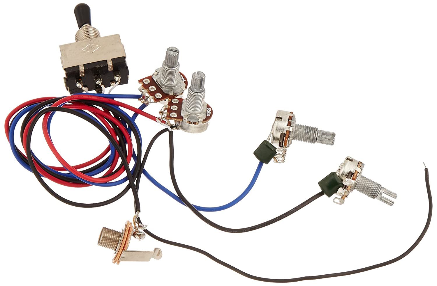 81LsyHV0HJL._SL1500_ amazon com kmise wiring harness prewired 2v2t 3way toggle switch guitar wiring harness at readyjetset.co