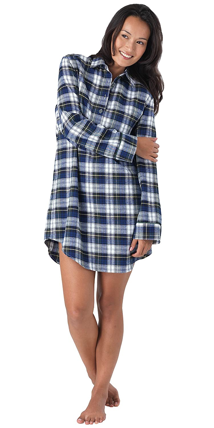 PajamaGram Women's Tartan Plaid Flannel Nightgown