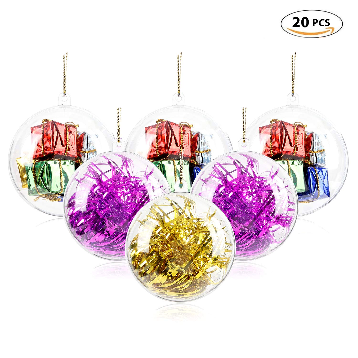 AGM Shatterproof Clear Plastic Christmas Ball Ornaments DIY Fillable Craft Xmas Balls Baubles Set Filled with Artificial Snow Berry Rattan for Winter Theme Tree Decorations, Set of 20 [Diameter: 8cm] AGM EU