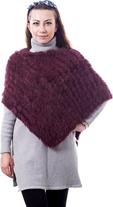 Women/'s 100/% Real Genuine Knitted Rabbit Fur Poncho Cape Coat Outwear Pullover