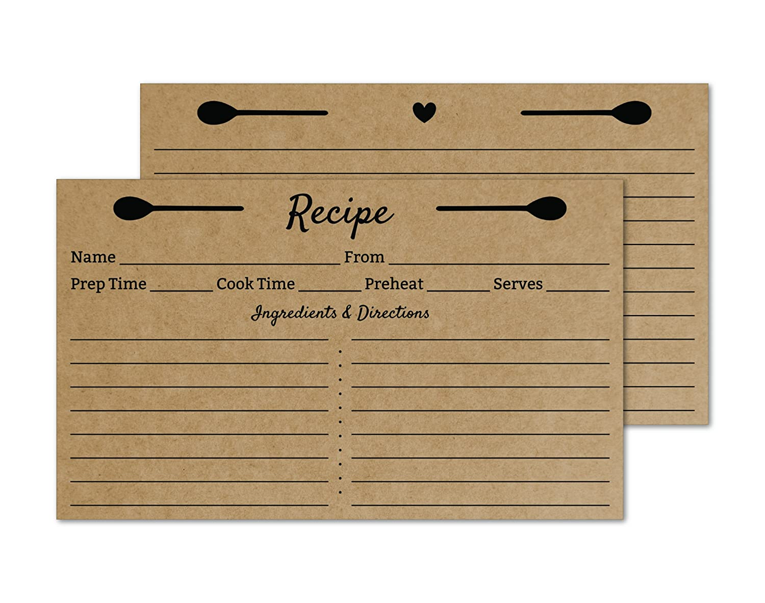 Crown Bee Printworks 3x5 Recipe Cards Double Sided Small Index Cards (Kraft Brown) 50/Set - Made in The USA