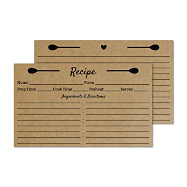 Kraft 3x5 Recipe Cards - Set of 50 Small Rustic Recipe Cards - Double Sided - For Wedding, Bridal Shower, Christmas, Holiday