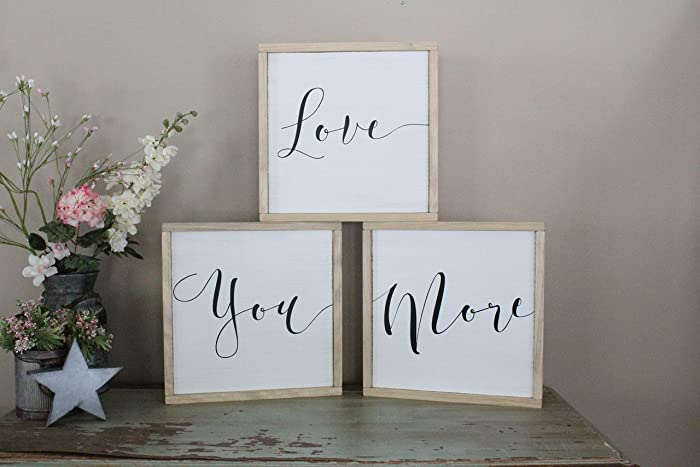 Amazon Com Love You More Wall Art Set Of 3 Signs Hand Painted