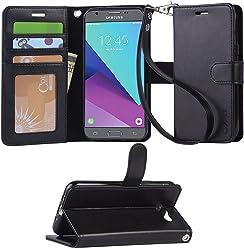 Arae Samsung Galaxy J3 2017 Flip case,Galaxy J3 2017 PU Leather Case with Card Slots and Wallet [Black]
