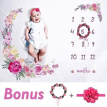 "6bc56aaba Baby Monthly Milestone Blanket Large 60""x40""   Bonus Floral  Wreath & Headband"
