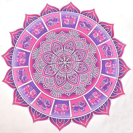 Rosa, morado, elefante Mandala manta tapiz de estilo redondo toalla de playa
