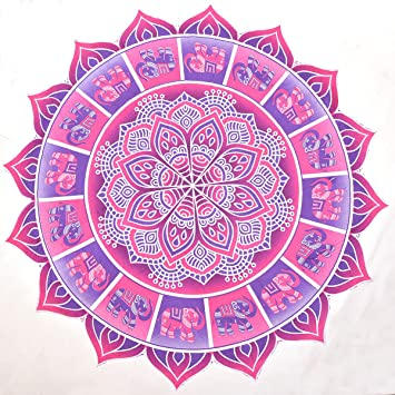 Rosa, morado, elefante Mandala manta tapiz de estilo redondo toalla de playa: Amazon.es: Hogar