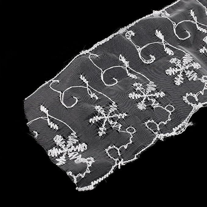Amazon.com: eDealMax Vestido de Novia ajuste de la Cinta de Encaje Bordado 6.5cm Anchura Longitud 1M Blanca: Home & Kitchen