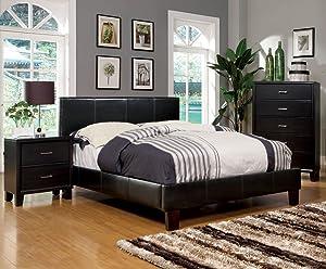 Furniture of America Lauren Leatherette Upholstered Platform Bed, Full, Dark Espresso