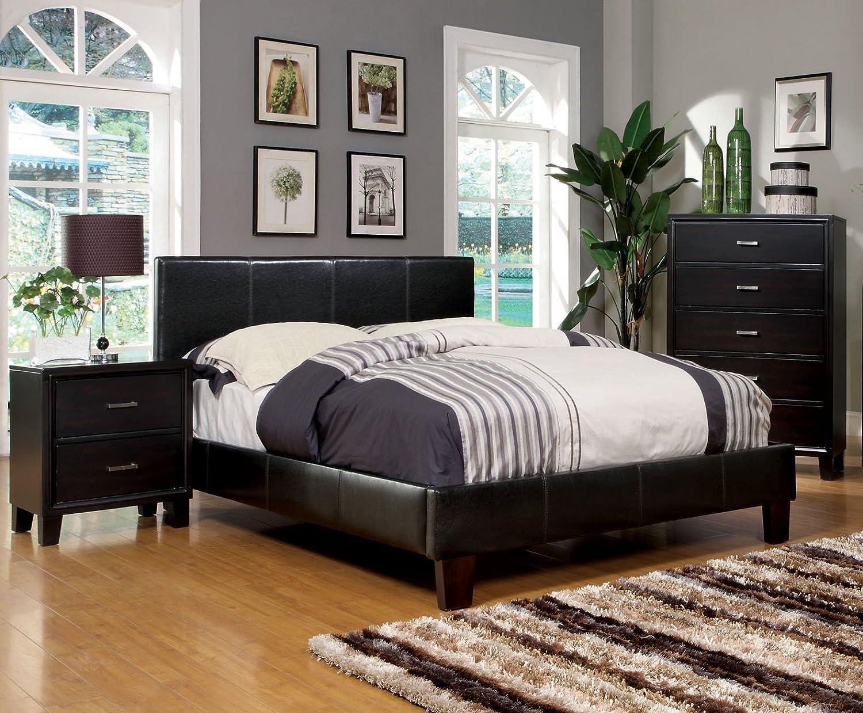 Amazon.com: Furniture Of America Lauren Leatherette Upholstered Platform  Bed, Full, Dark Espresso: Kitchen U0026 Dining