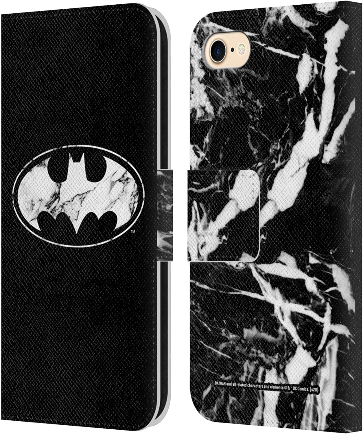 Head Case Designs Officially Licensed Batman DC Comics Marble Logos Leather Book Wallet Case Cover Compatible with Apple iPhone 7 / iPhone 8 / iPhone ...