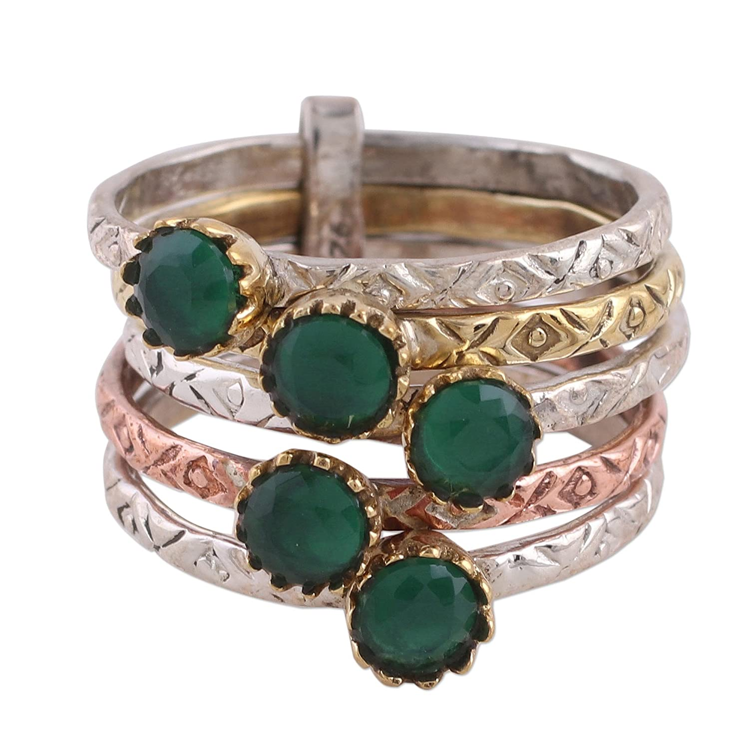 NOVICA Onyx .925 Sterling Silver Ring, 'Alluring Globes in Green'