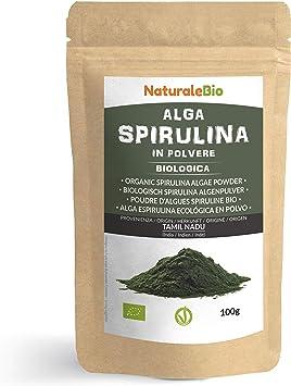 Alga Espirulina Ecológica En Polvo 100g. 100% Orgánica, Natural y Pura, Cultivada en India en Tamil Nadu. Ideal en bebidas y batidos, o recetas. Apto ...