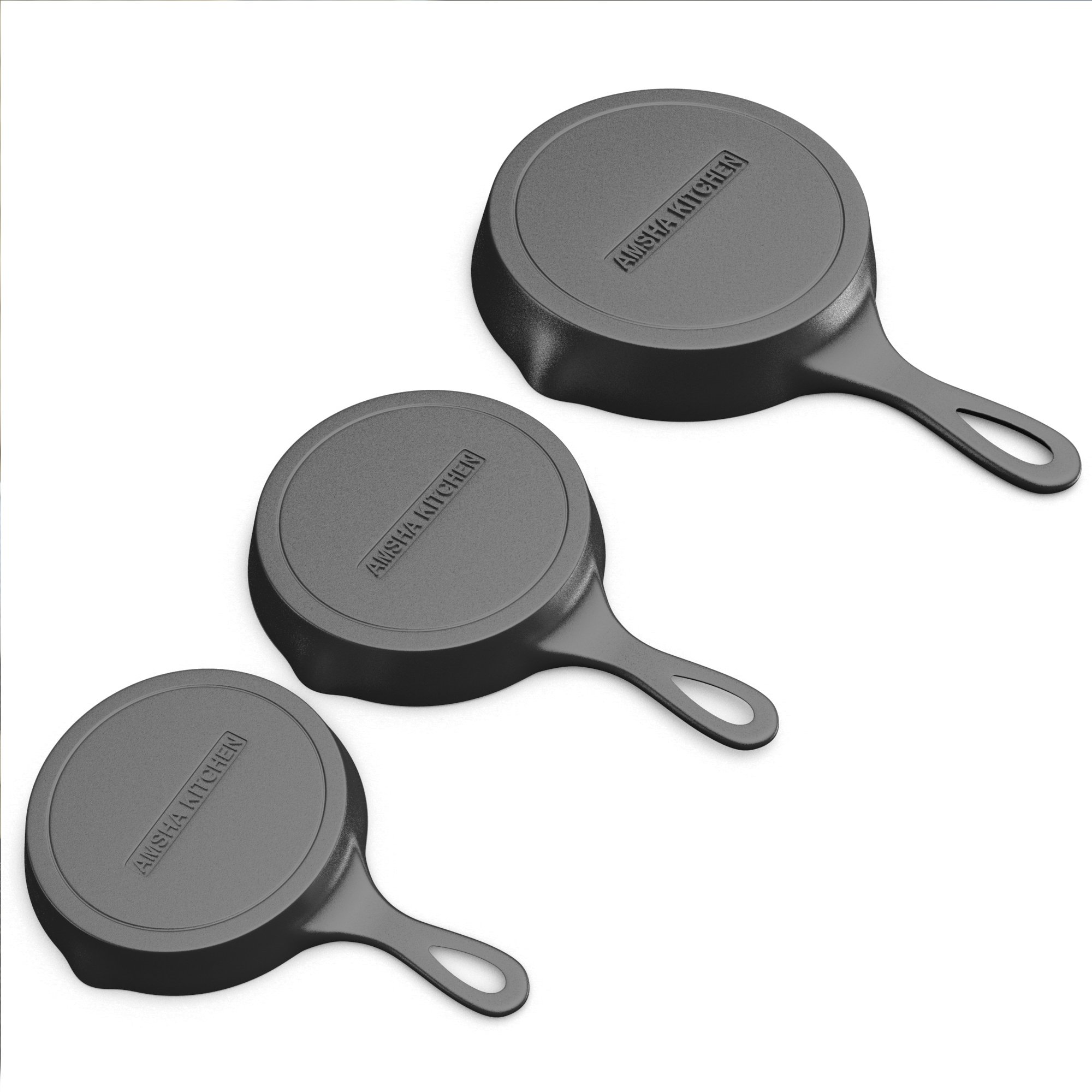 Pre-Seasoned Cast Iron Skillet 3 Piece Set (10, 8 inch & 6 inch Pans) Best Heavy Duty Professional Restaurant Chef Quality Pre Seasoned Pan Cookware For Frying, Saute, Cooking by Amsha Kitchen (Image #7)