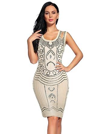 56bbff910e3 Flapper Girl Women s Flapper Dresses 1920s Beaded Fringed Great Gatsby Dress  (L
