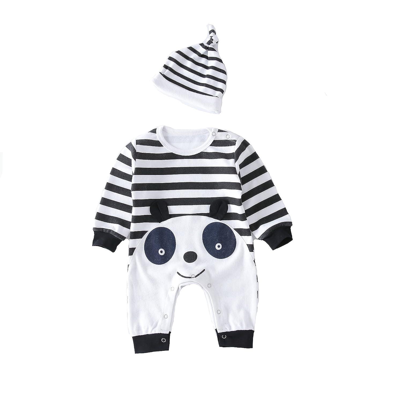 Nodykka Baby Toddler Bodysuits Playsuit Overalls Long Sleeve Gentlemen Panda Clothes with hat